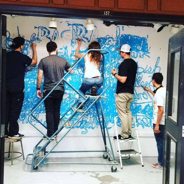 Students working at the rage galley.